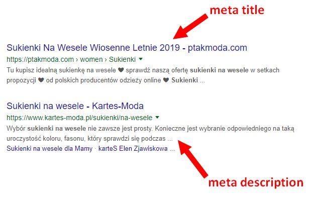 Wygląd meta title oraz description w wyszukiwarce